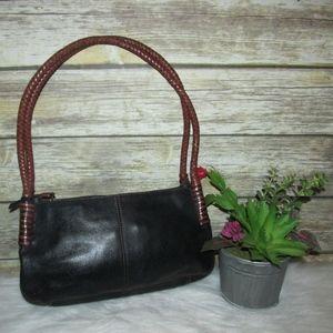 Vintage Fossil Black Leather Braided Strap Bag